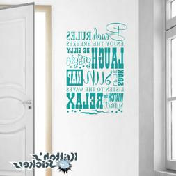 Beach Rules Enjoy... Vinyl Wall Decal Quote home art house d
