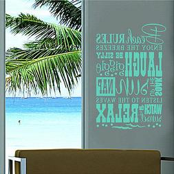 Beach Rules Subway Beach Wall Quotes Words Removable Tropica