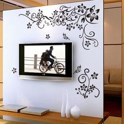 Beautiful Black Flower Vine & Butterfly Wall Sticker Decals