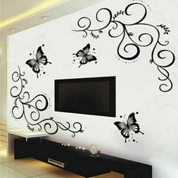 Beautiful Black Flower Vine Butterfly DIY Wall Sticker Decal
