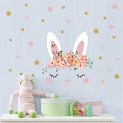 Beauty Rabbit Polka Dot Wall Sticker Decal For Nursery Kids