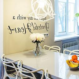 Begin Each Day With A Grateful Heart - Wall Vinyl Decal Stic
