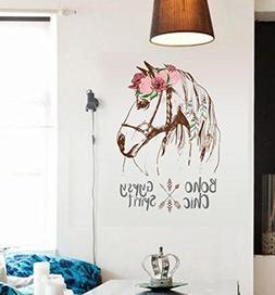 BIBITIME Feather Wreath Horse Wall Decal Indian style Arrow