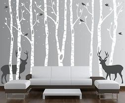 Birch Tree Wall Decal Forest with Birds and Deer Vinyl Stick