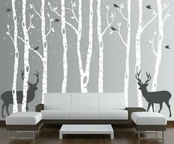 Birch Tree Wall Decal Forest With Snow Birds And Deer Vinyl