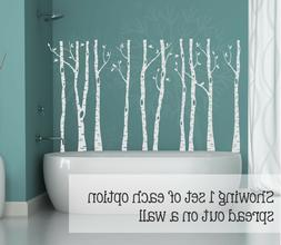 Birch Trees Branches and Birds Vinyl Wall Art Decals Modern
