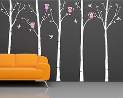 "Pop Decors""Birch Trees with Owls"" Wall Stickers For Baby Gir"