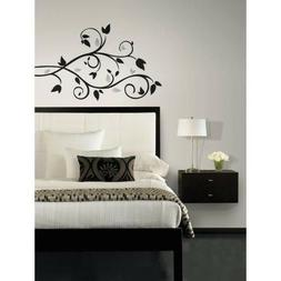 RoomMates Black & Silver Scroll Branch Foil Leaves Peel and