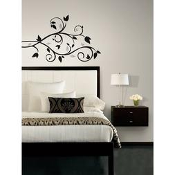 BLACK SILVER SCROLL BRANCH 57 BiG Wall Stickers Room Decor D