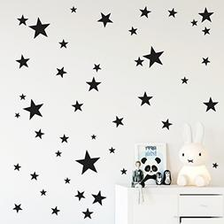 Black stars wall decals in assorted sizes, Nursery wall deco