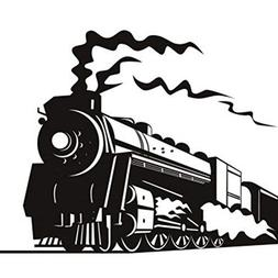 ufengke Black Steam Train Wall Decals, Children's Room Nurse