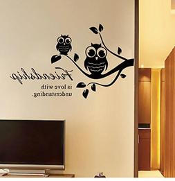 BIBITIME Black Tree Branch Decal Double Owls Wall Sayings Fr