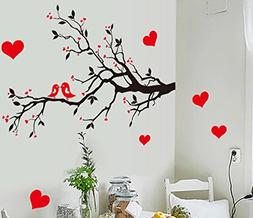 BIBITIME Black Tree Branch Red Plum Wall Decal Kissing Lover