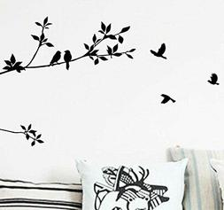 BIBITIME Black Tree Branch Wall Decal with Birds Art Sticker