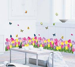 BIBITIME Blooming Tulips Wall Decals Border Nursery Colorful