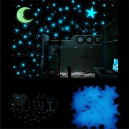 Blue 100 Pieces 3D Home Wall Ceiling Glow In The Dark Stars