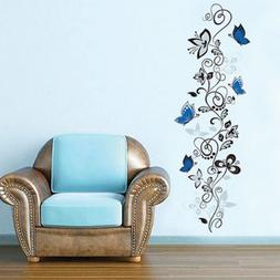 1 X Blue Butterflies and Hanging Vines Wall Sticker Decal