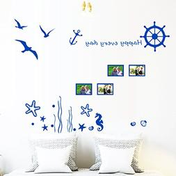 Blue Ocean Sea Gull Wall Decals Frame Landscape Photo Happy