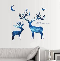 BIBITIME Blue Starry Sky Deer Wall Decal Animal Elk Antler G