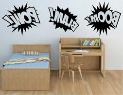 Boom Pow Blam Comic Book Sounds Vinyl Sticker Decal for Kids