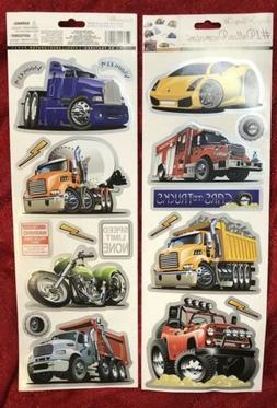 Boys Room Wall Decals Stickers - Cars Trucks Motorcycle Vehi