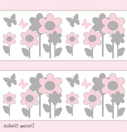 Butterfly Floral Wallpaper Border Wall Art Decals Pink Baby