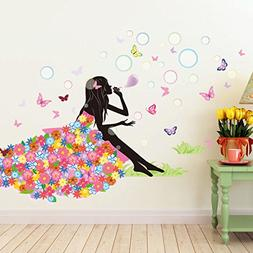 52 x 35 Inch Butterfly Girl Bubbles Flower DIY Wall Sticker