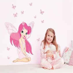 Butterfly Girl DIY Wall Stickers Cute Vinyl For Kid Child Nu