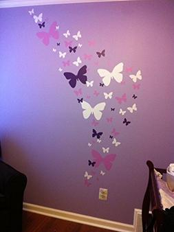 Butterfly Wall Decals- Lavendar, Lilac & White Matte Finish
