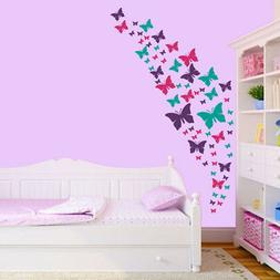 Butterfly Wall Decals- Purple, Pink & Turquoise Set. DIY Roo