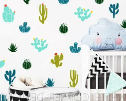 Cactus Wall Decals Colorful Cacti Wall Stickers, Nursery Dec