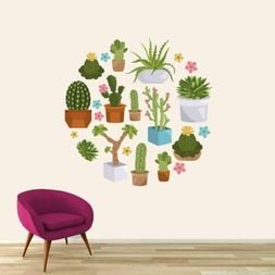 Cactuses and Succulents Printed Wall Decal - Plants and Flow