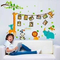 Cartoon animal photo frame large wall stickers kids decals B