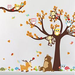 Witkey Cartoon Colorful Forest Animal Monkey Owls Bear Deer