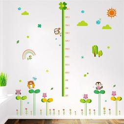Cartoon Forest Nature Animals Height Measure Wall Stickers F