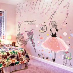 cartoon Girl Wall Stickers Peach Flowers  Mural Decals for K