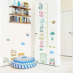 cartoon house children number height measure wall stickers f