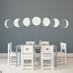 Cartoon Moon Phases Vinyl Wall Decal - best for lighter viny
