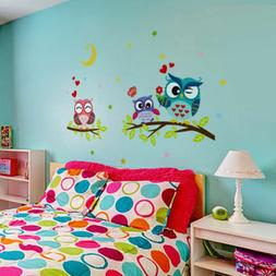 Cartoon Owl Tree Flower Kids Wall Stickers Vinyl Baby Room N