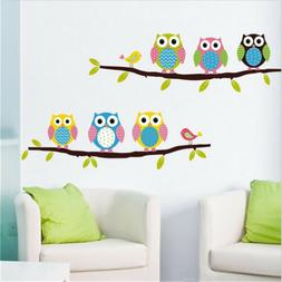 cartoon owl tree wall stickers for living wall decals child