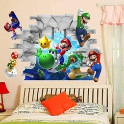 Cartoon Super Mario Bros 3D Stickers For Kids Baby Room Wall