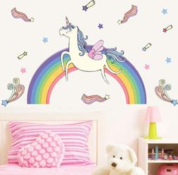 Cartoon Wall Sticker Unicorn Rainbow Wall Decals DIY Girls K
