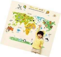 ufengke Cartoon World Map Cute Animal Wall Decals, Children'