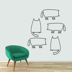 Cat Outlines Wall Decal Set - Animals Pets Kids Room Wall Ar