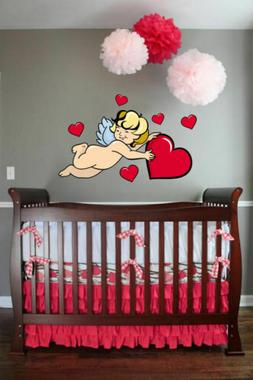 ced8 Full Color Wall decal Sticker angel hearts for girls be