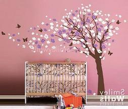 Cherry Blossom Flowers Tree and Butterflies Wall Decal for N