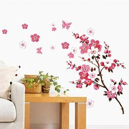 BIBITIME Cherry Blossom Wall Decal Stickers Pink Flying Butt