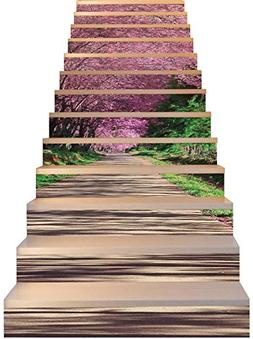 Jiaa Cherry Blosson Path Stair Stickers Peel and Sitck Tile