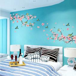Cherry Peach Blossom Flower Bird Wall Sticker Removable Wall