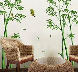 ufengke Chinese Stytle Green Bamboo and Bird Wall Decals, Li